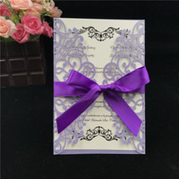 Wholesale chinese new year goods - Hot selling hollow out Laser cut personalized Ribbon purple wedding invitation card wedding supplier DHL good price
