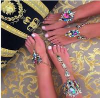 Wholesale anchor ankle bracelet - 20PCS Best lady 2017 Flower Ankle Bracelets Beach Vacation Sandals Sexy Leg Chain Female Crystal Boho Anklet Statement Jewelry F245