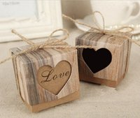 Wholesale Wholesale Wedding Bonbonniere - Candy Boxes Love Rustic Kraft Bonbonniere With Burlap Jute Shabby Chic Vintage Twine Wedding Favor Imitation Bark Gift Box 5 Cm x 5 Cm x 5