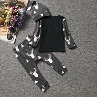 Wholesale Fasion Clothes - Cute Newborn Baby Girl Boy Clothes Deer Tops T-shirt Long Sleeve + Pants Casual Hat Cap 3pcs Outfits Set Babies Sets Fasion