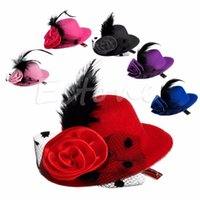 mini sombreros pinza de pelo al por mayor-10 unids / moda Lady's Mini Hat Pinza de pelo Pluma Rose Top Cap Encaje fascinator Costume accesorio 6 colores