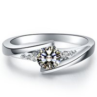 Wholesale Diamond Solid Wedding Ring - Amazing Quality Design 1CT White Clear Synthetic Diamond Wedding Ring For Female Solid Sterling Silver Ring With White Gold Cover