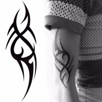 Wholesale Wholesale Temporary Tattoo Paper - 2018 Hot Black Temporary Tattoo Body Art Tattoos 3D Waterproof Temporary Tattoos Sticker Art Men Arm Leg Fake Tatoo Paper
