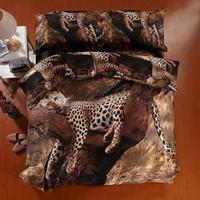Wholesale Leopard Quilt Comforter Set - 3D Leopard Comforter Bedding sets duvet cover bed in a bag sheets spread doona quilt bedset King queen size full 100%Cotton 5PCS