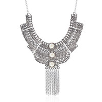 Wholesale Silver Multi Gem Necklace - Vintage Tassel Necklace Silver Plated Multi Layer Bohemian Statement Joker Crystal Long Hollow Gem Pendent Necklaces for Women Fashion