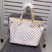 Wholesale full purse - Women Classic Never Composite Bag High Quality Oxidizing Leather Damier Shopping Purse Full GM MM Plaid Print Handbag Tote Bag