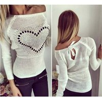 Wholesale Wholesale Heart Jumpers - Wholesale-2016 Autumn Women Sexy Heart Pattern Bowknot Sweater Casual Off Shoulder Knitted Pullover Thin Jumper Plus Size Pull Femme