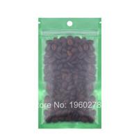 Wholesale Green Bean Coffee - 12x20cm 100pcs flat bottom Green Translucent matte Reclosable aluminum mylar foil coffee bean snack zipper packaging bags