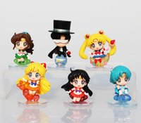 6 pcs / set Anime Cartoon Sailor Moon Usagi Zukino Máscara de smoking Sailor Mars Jupiter Venus Mercury PVC Figurine Model Toys