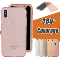 Wholesale Iphone 5s Gel Cover - 360 Degree Coverage Full Body Cover Slim Transparent Soft TPU Gel Front And Back Case For iPhone X 8 7 Plus 6 6S SE 5S 5 Samsung S9 S8 Plus