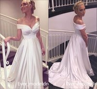 Wholesale White Satin Draped Bust - Cheap Sexy Pearls White Satin Wedding Dresses A Line Simple Arabic Plugging Open Bust Off The Shoulder Bridal Party Gowns Customized 2017