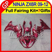 7gifts Kawasaki Ninja ZX 6 R ZX636 09-12 ZX6R 09 10 11 12 fiamme bianche 5GP94 ZX 636 ZX-6R ZX 6R 2009 2010 2011 2012 TOP Rosso scuro carenatura