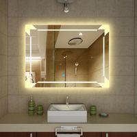 espejo de pared de bao iluminado grande e iluminado grande hermoso decorativo montado