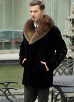 Wholesale Mens Rabbit Coats - Black warm casual short faux Mink rabbit fur coat mens leather jacket men coats Villus winter loose thermal outerwear fur collar