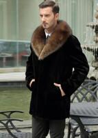 conejo negro corto al por mayor-Negro caliente de conejo corto ocasional de imitación de cuero abrigo de piel para hombre de la chaqueta de los hombres abrigos de invierno de vellosidades cuello de piel suelta ropa de abrigo térmica 1425896665744253