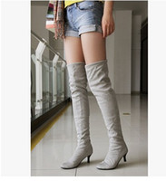 reiner oberschenkelstiefel großhandel-Lackleder neuen Stil Außenhandel Wildleder Overknee reines Pigment Edition geeignet Low Heel Damenstiefel 364