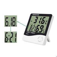 pantallas led de interior al por mayor-Reloj electrónico de temperatura HTC-1 LCD Digital Medidor de humedad interior Alarma diaria y calendario con paquete comercial