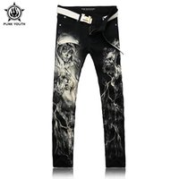 Wholesale Punk Rock Pants Trousers - Wholesale- Punk Youth Men'S Rock Jeans Denim Pants Long Trousers Jeans Skeleton Skull Print Jeans Leisure Black Denim Pants Men