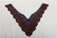 Wholesale Embroidery Garment - 2016 Fake Collar National Beaded V Neck New Pendant Necklace Embroidery Hand Made Garment Accessories Hot Fashion