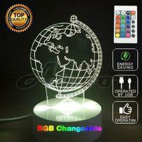 ingrosso terra americana-3D illusione ottica American Art Sculpture Lights in 7 colori 3D Remote Earth Shape Globe Lampada da tavolo come camera da letto niaghtlight