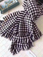 Wholesale Long Black Cotton Scarf - 2017 Brand New Scarf for Winter Women grid Pashmina luxury designer scarfs warm long section of thicker scarf size 190x80cm