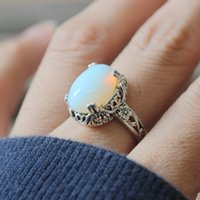 Wholesale Malachite Antique - Gorgeous Vintage moonstone Ring,malachite ring Classical flower bezel ring charm jewelry Autumn gift antique silver color C270R