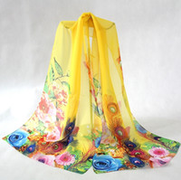 Wholesale Peacock Floral - Fashion Peacock Scarf Chiffon Silk Scarves for Women Classic Bohemian Spring Summer Shawl Wraps for Girls SS-005