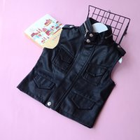 Wholesale Hot Girl Leather Clothing - Everweekend Boys Black Leather Zipper Jackets Coat Western Fashion Lovely Children Clothing Ins Hot Sell Baby Clothes