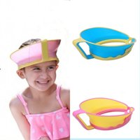 Wholesale Baby Shower Hats - 3 Pieces Adjustable Baby Shower Cap Shampoo Kids Bath Visor Hat Hair Wash Shield For Children Silicon Kids Shower Cap Silicon Infant