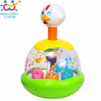 Wholesale Wholesale Cheap Chicken - Wholesale- Original Huile Toys Cheap Baby Toys Push and Spin Carousel Chicken Toy Hen Jumping With Music Early Development Kawaii Kids Toys
