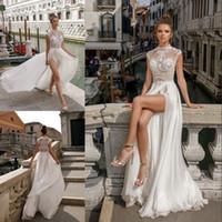Wholesale High End Beach Wedding Dresses - High-end Beach Split Wedding Dresses Lace Appliqued A-Line Sheer High Neck Bohemian Bridal Gowns Floor Length Pus Size Chiffon Wedding Dress