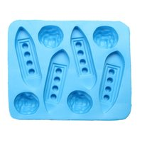Wholesale pudding ice cream - Creative Funny Titanic Ice Cube Tray Eco-Friendly Silicone Cake Jelly Cookie Pudding Moulds Novel Reusable Ice Mould