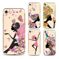 Wholesale Colours Phone Accessories - for iphone7 plus phone coloured drawing or pattern Factory Flower girl apple 6 s accessories TPU case