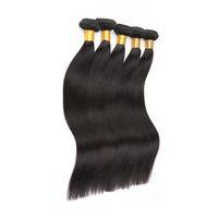 Wholesale hair jet black 26 inches online - 8a brazilian straight virgin hair bundles Human Hair Weave Non Remy Hair Jet Black Color Or Piece