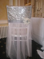 Wholesale Cheap Purple Chair Sashes - Sequined 3D Flower Tulle Vintage Chair Sashes Romantic Beautiful Chair Covers Cheap Custom Made Wedding Supplies