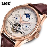 altı pim toptan satış-Toptan-LIGE Marka erkek Saatler Altı-pin Ay evreleri Otomatik İzle Erkekler Dalış 50 M Rahat Deri Saatı relogio masculino