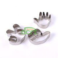 Cutter Metal FDA 3pcs set DIY Finger-guessing Game Shape Stainless Steel Cookie Cutter Cake Molds Metal Fruit Sandwich Decorating Tools