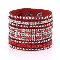 Wholesale Glitter Cuff Bracelet - Wholesale- crystal bracelet rhinestone woman bangle 2016 statement bracelets female free shipping flannel with glittering buckle bracelet