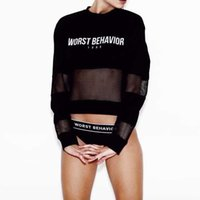 Wholesale Sexy Women See Through Shirts - Sheer Mesh Top Summer 2017 Letter Worst Behavior Long Sleeve Tshirt Women Harajuku Sexy See Through Tee Shirt Femme Crop Tops