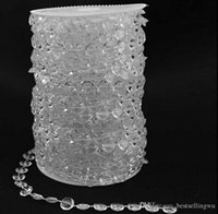 Wholesale Crystal Booth - 99FT Garland Diamond Strand Clear Acrylic Crystal 10mm Beads Chain DIY Wedding Curtain Party Decorations supplies