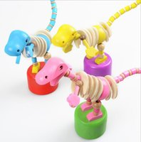 Wholesale Handcrafted Toys - Kid Wooden Developmental Dancing Standing Rocking Dinosaur barrel Handcrafted Toy