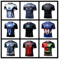 Wholesale Couple T Shirts Superman - 2017 Hot Spider-Man Superman Men and Girls Couple Quick-build body tight-fitting short-sleeved T-shirt