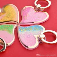 Wholesale Heart Shape Love Phone - Free shipping universal love shape liquid quicksand cell phone holder liquid sand ring buckle lazy heart-shape ring holder bracket