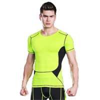 Wholesale Fitness Sweaters - Men 's tight - skinned sweater riding suit waterproof fitness clothing boxing training clothing sports T - shirt short - sleeved