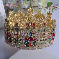 Wholesale Tiaras Colorful - Vintage Baroque Bridal Tiaras Accessories Gold Silver Colorful Crystals Princess Headwear Stunning Wedding Tiaras And Crowns 17.5*9.2cm H22