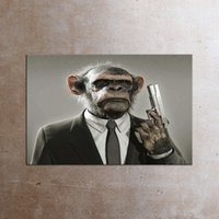 Wholesale Monkey Oil Painting Canvas - Sarcastic Disguiser Painting Animals Canvas Wall Art Picture Monkey Oil Painting Giclee Printed For Living Room Home Decor