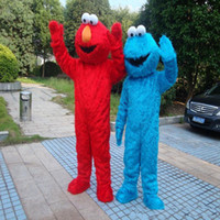 Wholesale Elmo Adult Mascot - Sesame Street Blue Cookie Monster Mascot blue Elmo costume Fancy Dress Adult size Halloween free shipping