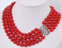 """Wholesale Charming Red Coral Necklace - Charm Fashion!4Rows 8MM Red Ruby Jade Round Beads Gemstone Necklace17""""--20"""