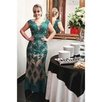 Wholesale Mother Bride Dresses Teal - Teal Lace Mother Of The Bride Dresses 2017 Cap Sleeve Sheath Floor Length Quality Custom Luxury Evening Party Gowns For Women