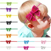 Wholesale Sequin Cord - 13colors baby girls solid colors sequins bowknot hairband infants fashion slim elastic cord bow heandband